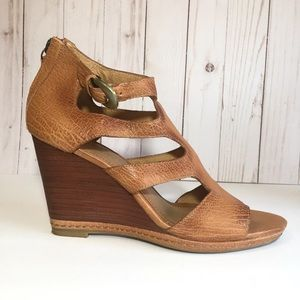 Trask Hara Cognac Leather Cutout Wedge Sandals